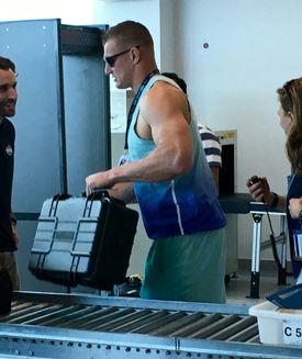 Rob Gronkowski in security at  the start of the trip.