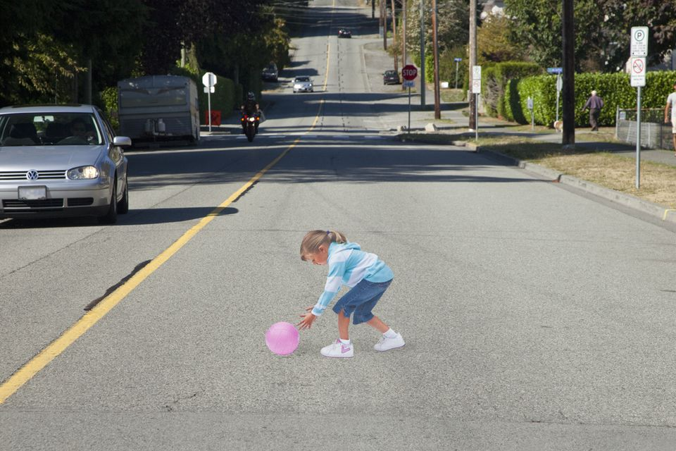 In West Vancouver Canada, a nonprofit installed a 3-D decal on a road near a school to raise awareness about drivers speeding through school zones.