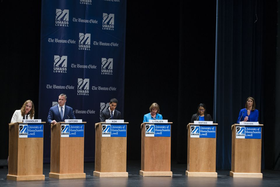 Democratic candidates for the Third District congressional seat during a debate in Lowell on April 29.