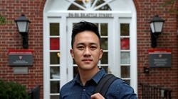 Viet Nguyen stood in front of the Harvard College admissions office. He is leading an alumni donation boycott calling for an end to admissions preferences for the children of alumni at elite colleges across the country.