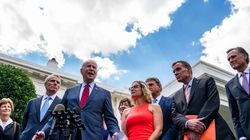 President Biden and a bipartisan group of senators speak to the media following infrastructure negations at the White House on June 24.