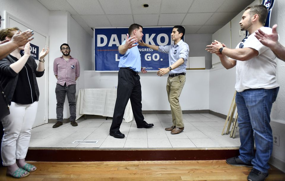Boston Mayor Martin J. Walsh and Dan Koh, his former chief of staff, hugged at an event in Haverhill on Saturday.