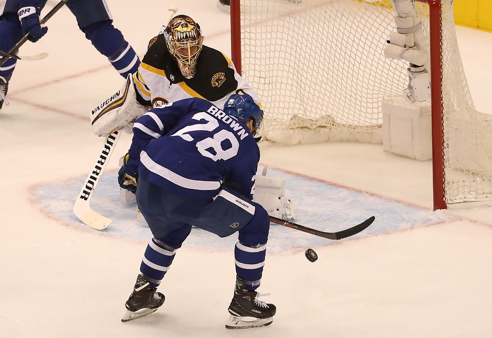 Tuukka Rask made a crucial save against Connor Brown in the second period.