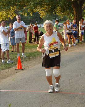Mrs. Rossetti, then 84, crossed the finish line during the Yankee Homecoming race in Beverly in 2005. She competed in 164 races in 2001, the year she turned 80.