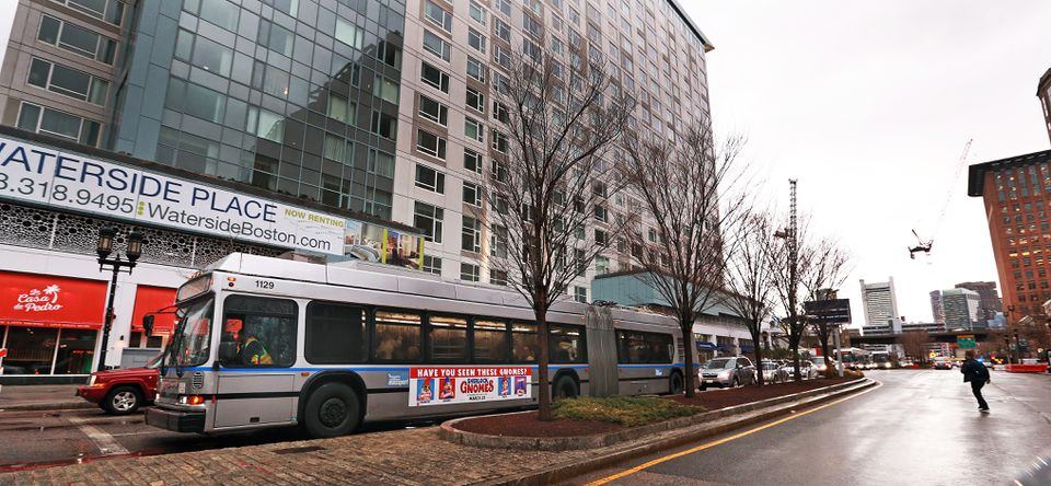 Buses were being used outside of the MBTA Silver Line station on Congress Street due to the closure of the tunnel through the Seaport area.