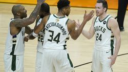 The Bucks may have been led by Khris Middleton (second from left) and Giannis Antetokounmpo (third from left), but they would not have won their NBA title without P.J. Tucker (left) and Pat Connaughton (right).