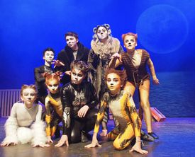 """The Company Theatre's student actors in the classical musical """"Cats."""""""