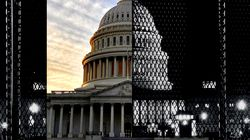 The US capitol building on Dec. 25, 2019 and surrounded by a security fence on Jan. 8, 2021.