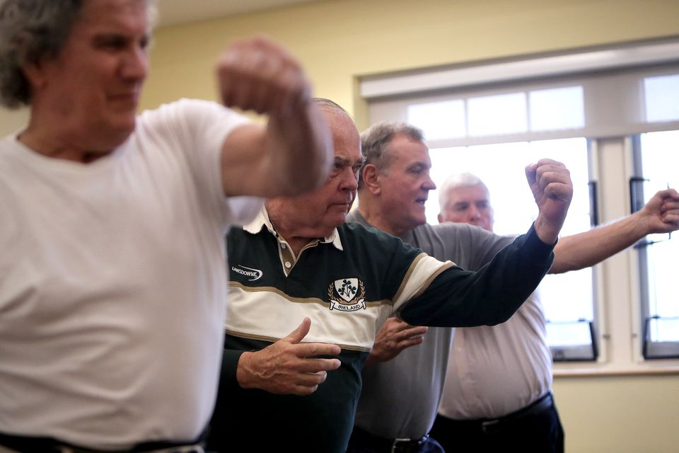 Plymouth residents Paul MacDonald, Bruce Goodwin, Stuart Hudson, and John Justice took part in Uechi-Ryu Karate class at the town's Center for Active Living.