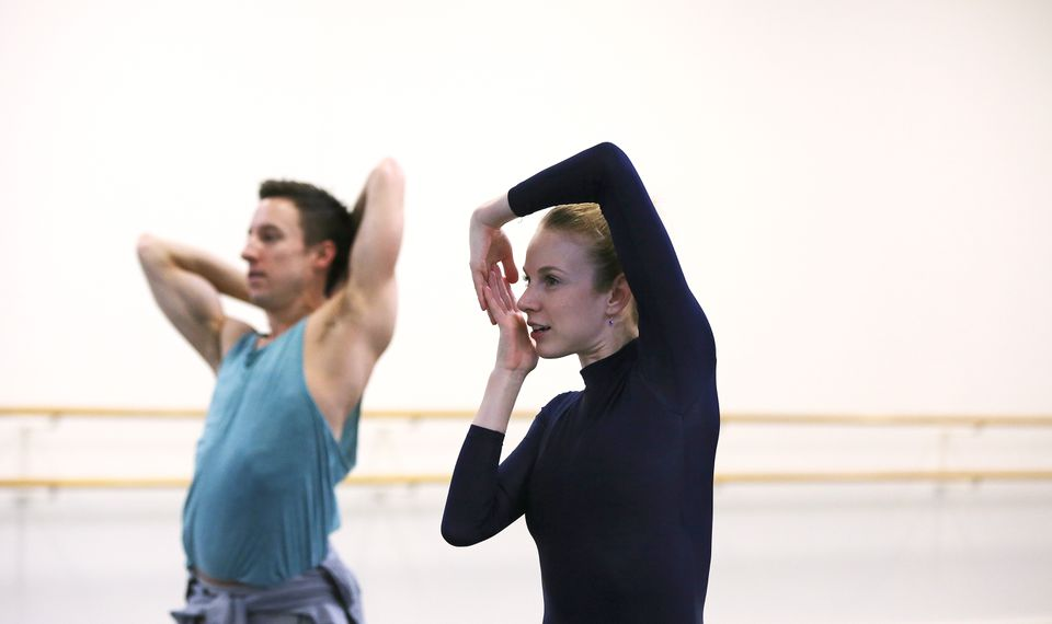 """I hope that I can inspire more women to choreograph and create and put themselves out there,"" says Boston Ballet dancer/choreographer Jessica Burrows, here rehearseing her work ""Variations."""