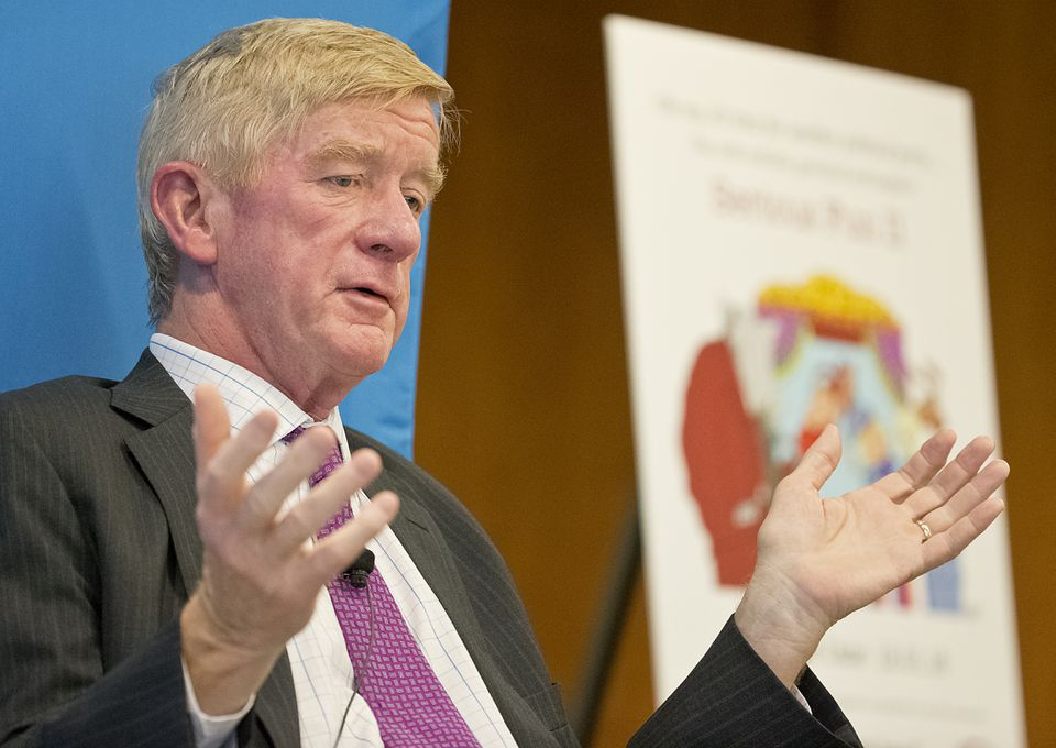 William F. Weld, the former Republican governor turned Libertarian candidate for vice president, spoke at Mintz Levin on Tuesday.