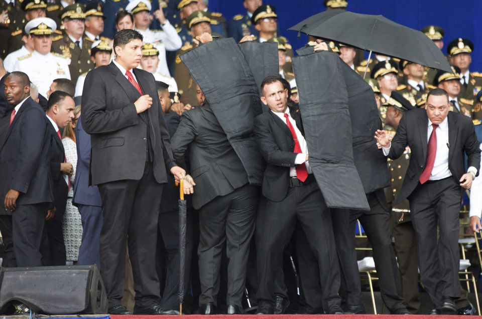 The drone that appeared over Fenway Park last week was benign, but the drone filled with explosives that attacked Venezuelan strongman Nicolas Maduro (above) last August show the potential for more malevolent purposes.