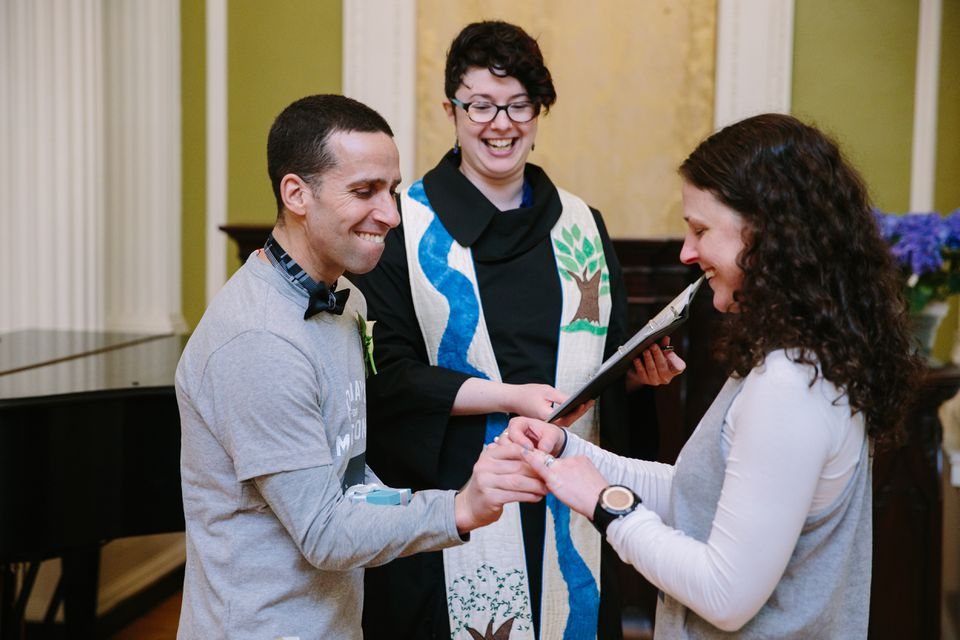 Marc Flageole and Karine Cormier of Montreal got married in Arlington Street Church on Monday after running in the Boston Marathon.