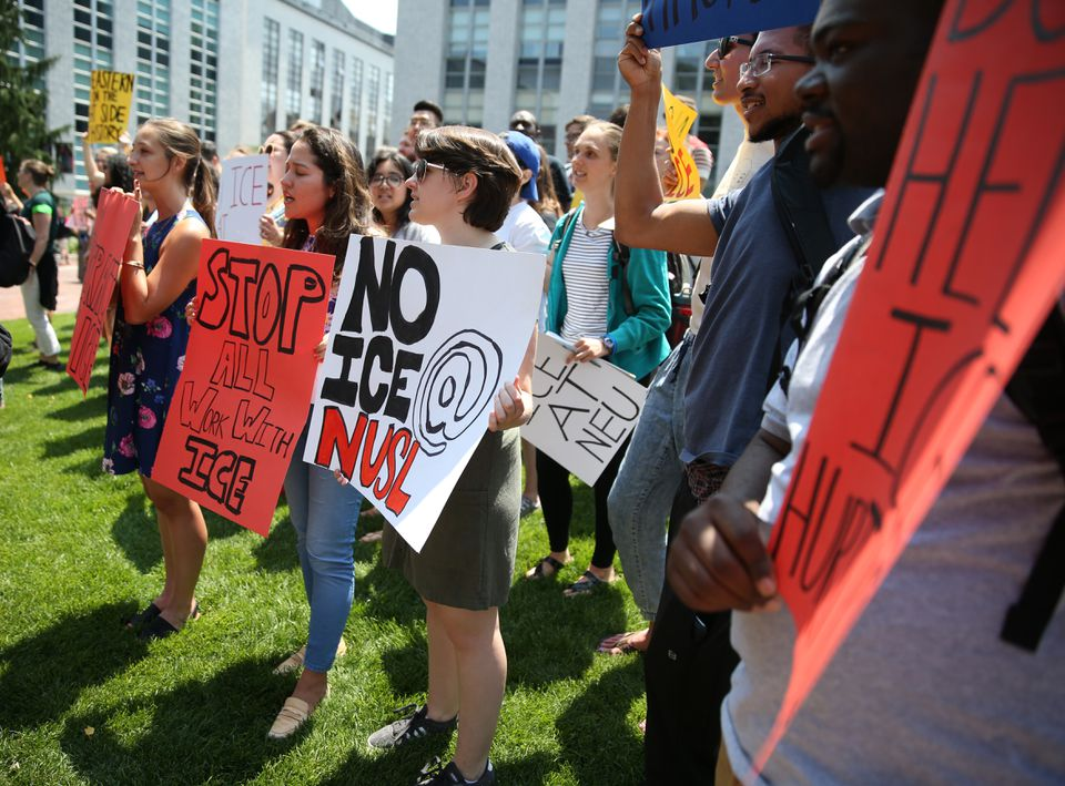 Northeastern law student Jillian Gonzalez (middle) was among Wednesday's protesters.