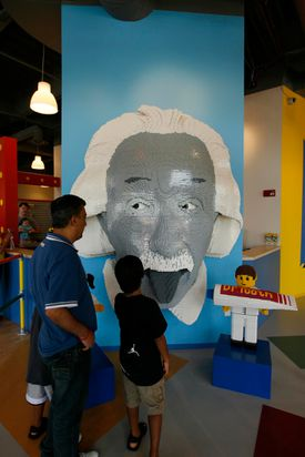Visitors to the Legoland Discovery Center near Chicago can view a model of  Albert Einstein.