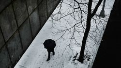 NEW YORK, NEW YORK - FEBRUARY 12: People walk through the snow and sleet in Manhattan on February 12, 2019 in New York City. New York City, in a winter that has been light on snow this season, is expected to receive two inches of snow before the storm moves later this evening.  (Photo by Spencer Platt/Getty Images)
