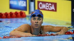 Three-time Olympian Elizabeth Beisel made the 10.4-mile swim from Rhode Island to Block Island on Sunday.