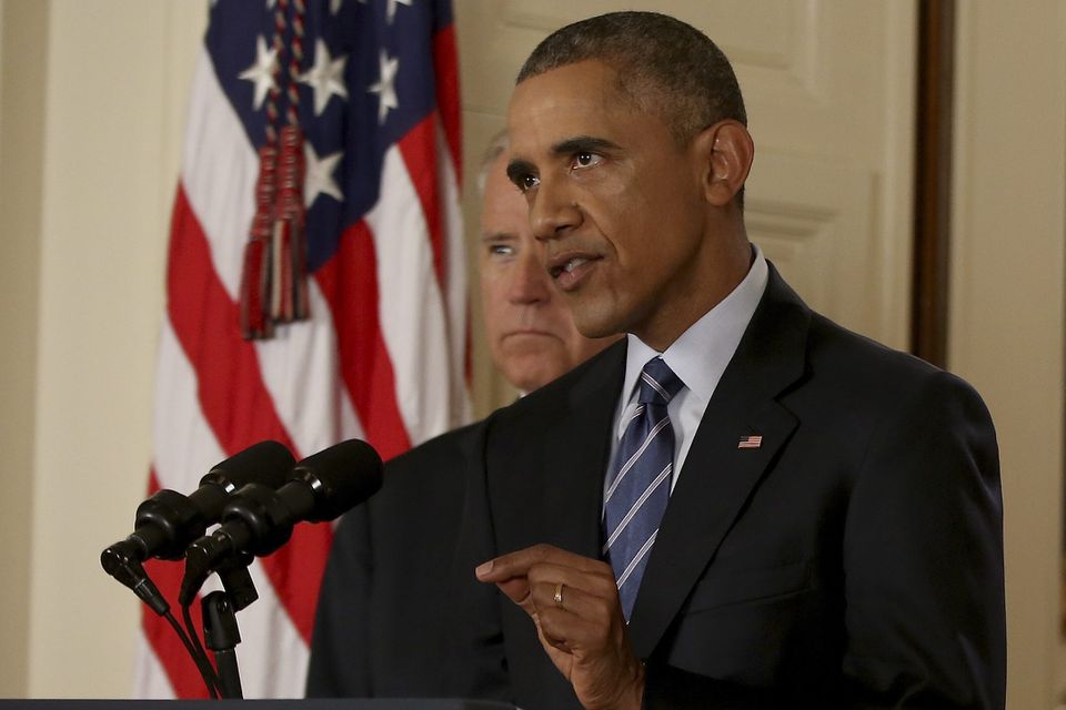 President Obama, accompanied by Vice President Joe Biden, spoke shortly after negotiators in Vienna announced the landmark deal.