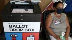 Debbie Alexander monitored the ballot drop box at  the  BCY on Paris Street in  East Boston, where early voting was took place in Boston's Municipal Election on Sept. 4.