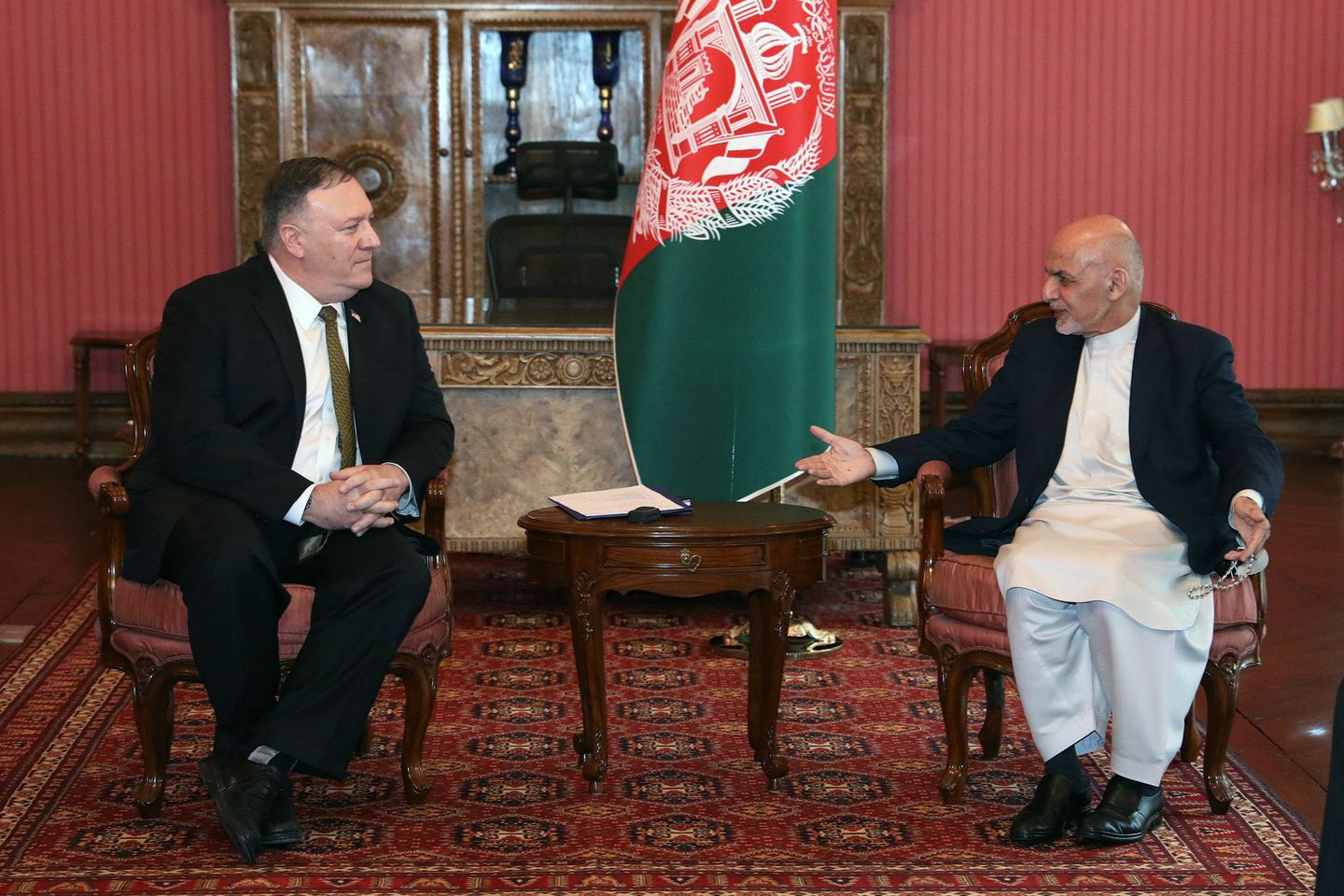 Secretary of State Mike Pompeo met with Afghanistan's President Ashraf Ghani during an urgent visit to Kabul Monday aimed at saving the fragile US-engineered peace deal with the Taliban.