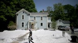 """The faux snow blanketed several properties on Chestnut Street in Grafton, where a Showtime TV series """"Dexter"""" is filming."""