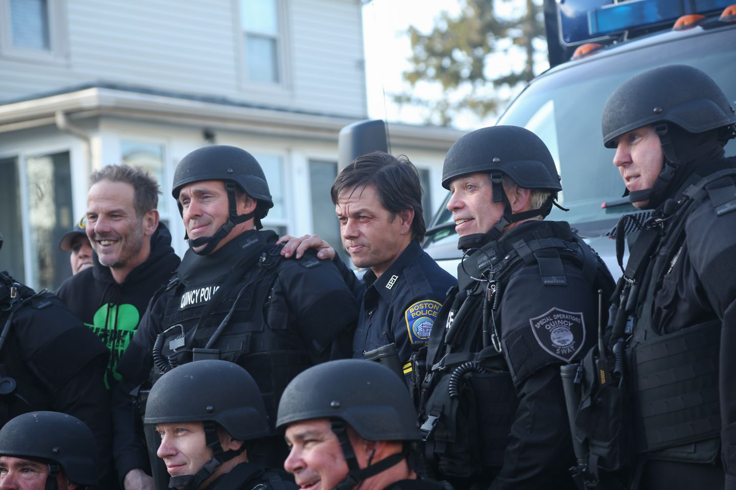 Wahlberg Dons Uniform On The Set Of Patriots Day The Boston Globe