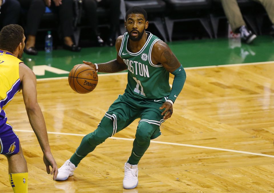 Kyrie Irving takes to the court for the Celtics.