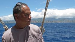In this April 29, 2014, file photo, master navigator Chad Kalepa Baybayan stands aboard the deck of the Hokulea canoe off Honolulu.