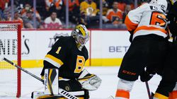Bruins rookie Jeremy Swayman was only able to stop 19 shots Wednesday against Philadelphia.