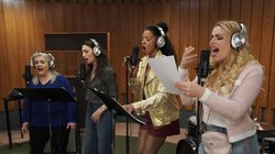 """From left: Paula Pell, Sara Bareilles, Renée Elise Goldsberry, and Busy Philipps in """"Girls5eva,"""" a Peacock comedy series about a 1990s girl group that reunites."""