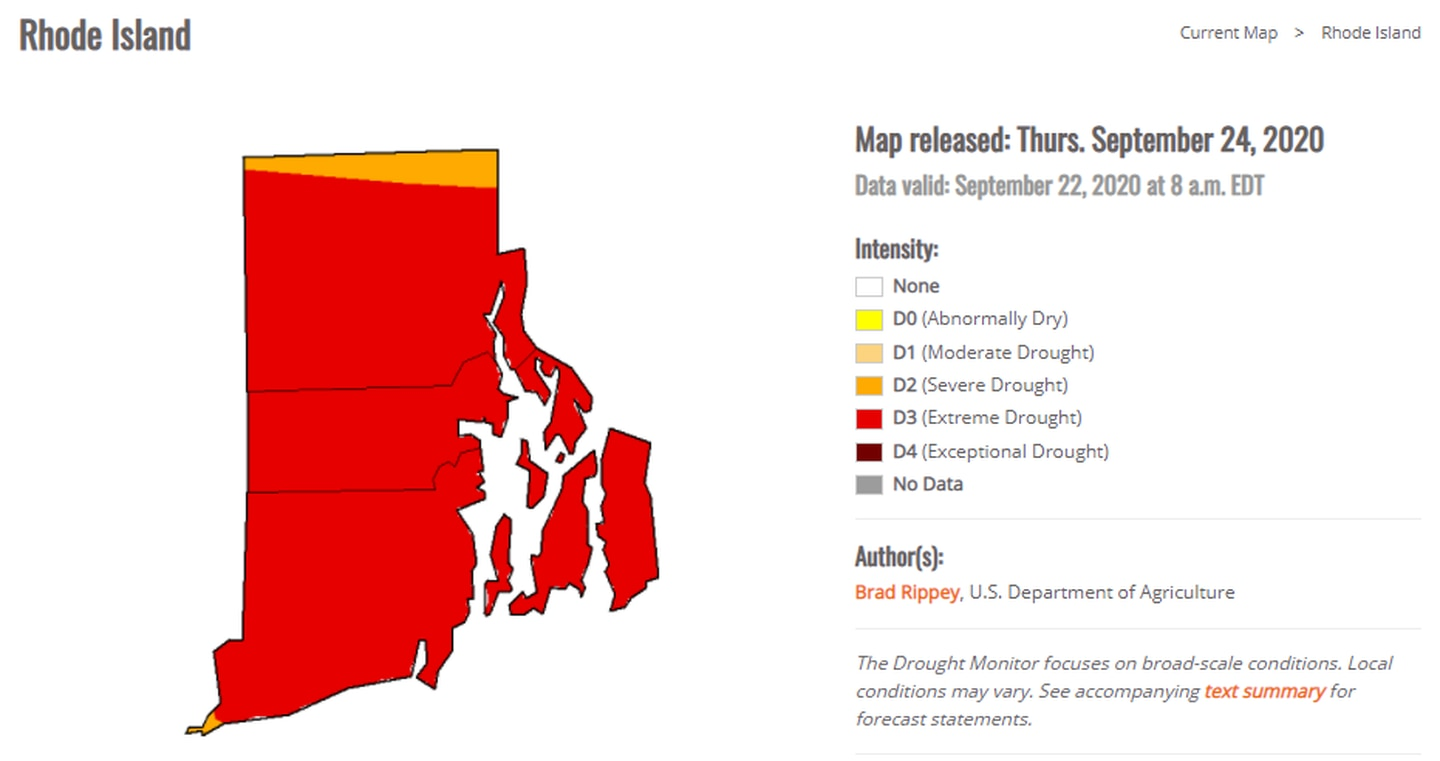Rhode Island is experiencing an 'extreme' drought for the first