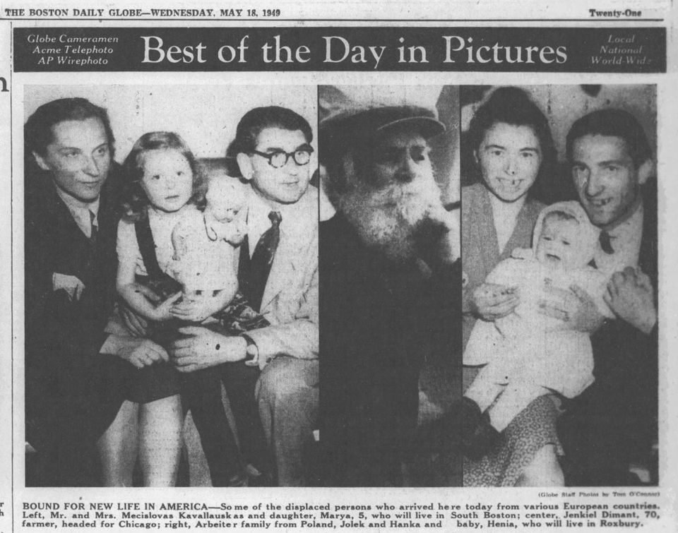 Jolek and Hanka Arbeiter and baby Henia (right) appeared in the Boston Evening Globe in 1949.