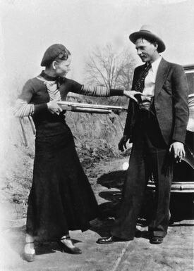 Bonnie Parker and Clyde Barrow, pictured in 1933.