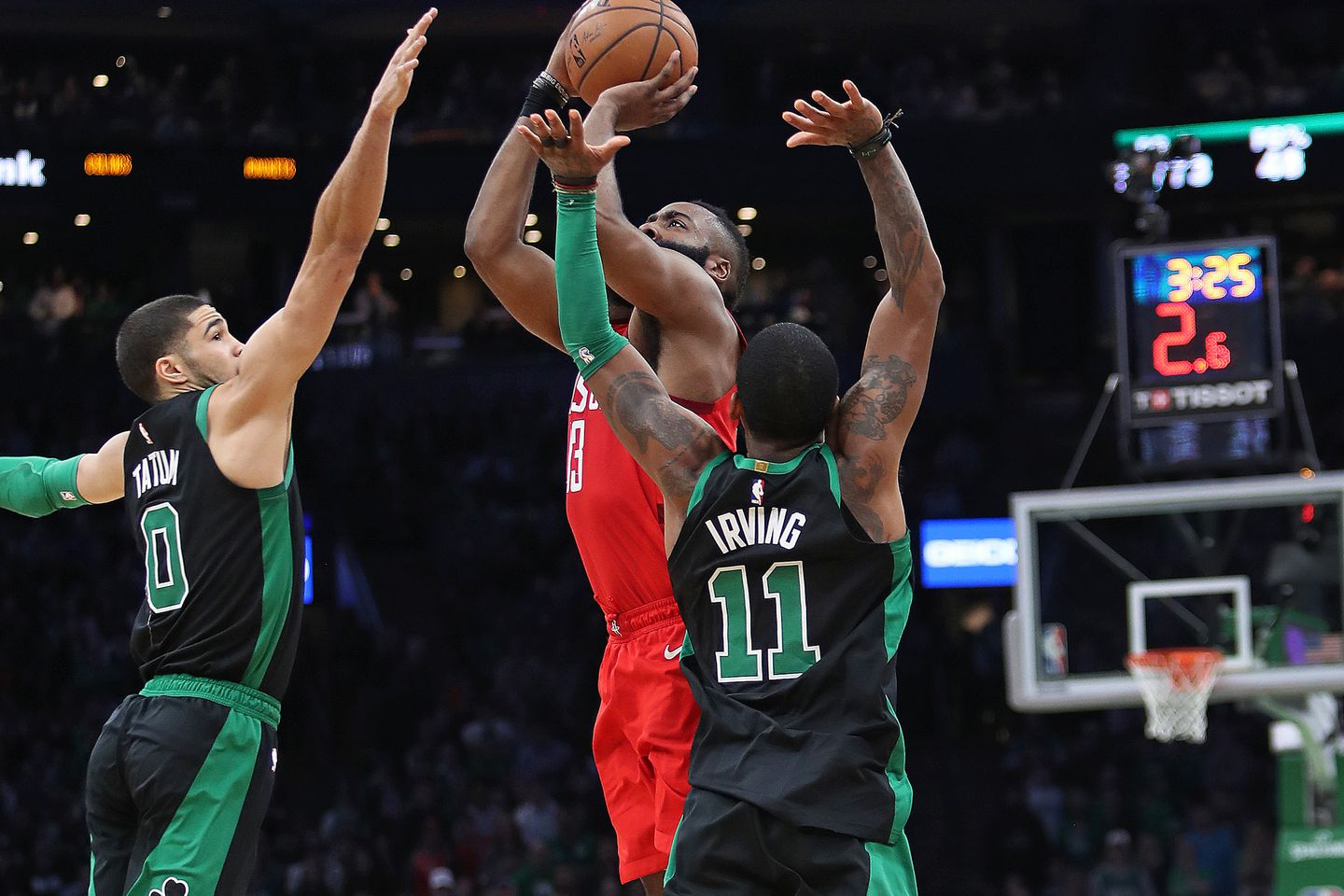 sports shoes 6002b 154c1 James Harden fired up a desperation 3-pointer as Jayson Tatum and Kyrie  Irving defended