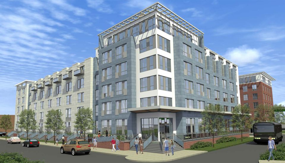 An artist's rendering of the $60 million apartment complex on Morrissey Boulevard.