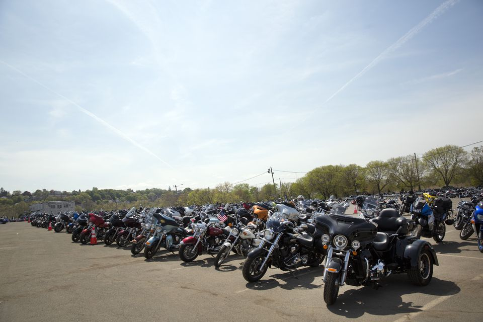 A row of bikes sat at Suffolk Downs on Saturday.