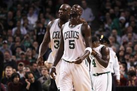 Celtics Shaquille O'Neal and Kevin Garnett made their way back to the bench after a play in a 2010 game.