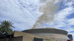 Smoke came from the roof at New Orleans' Superdome on Tuesday in New Orleans.