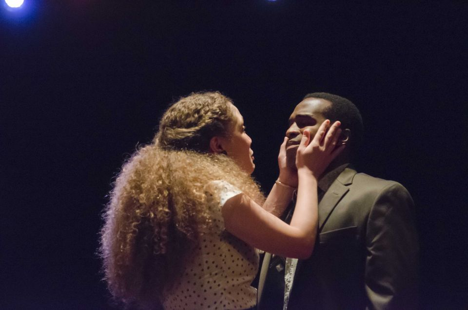 """Evelyn Howe and Omar Robinson in """"Lost Tempo"""" at Boston Playwrights' Theatre."""