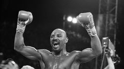 Marvin Hagler celebrated after knocking out Thomas Hearns in Las Vegas to win the world middleweight championship in 1985.