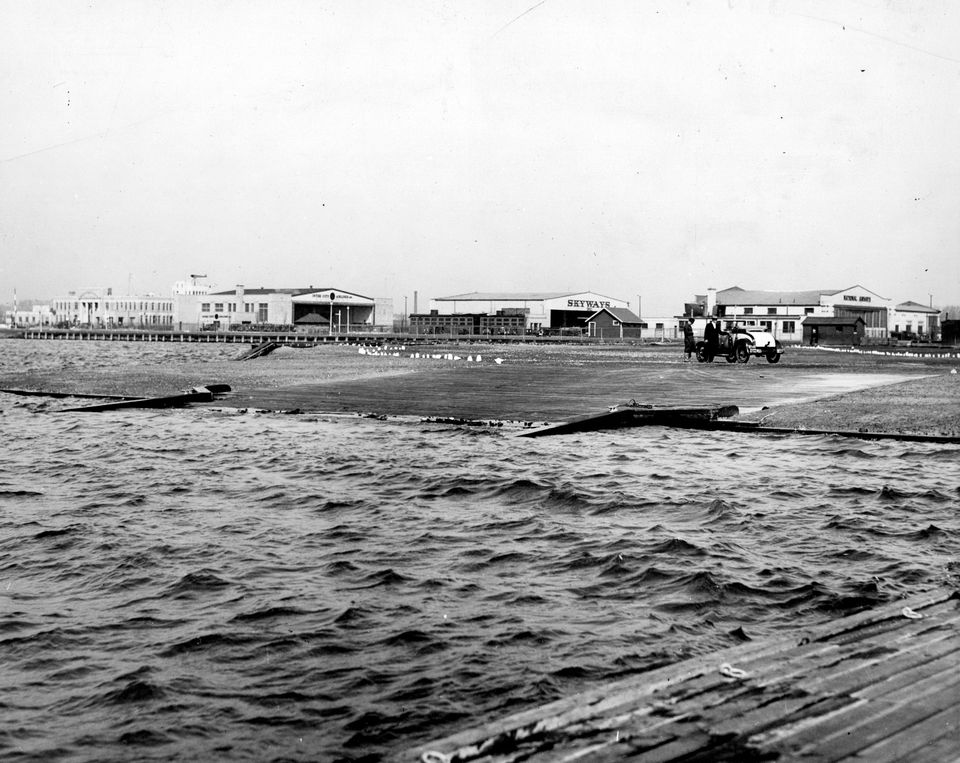 The ramp for sea planes at the Boston Airport in 1935.