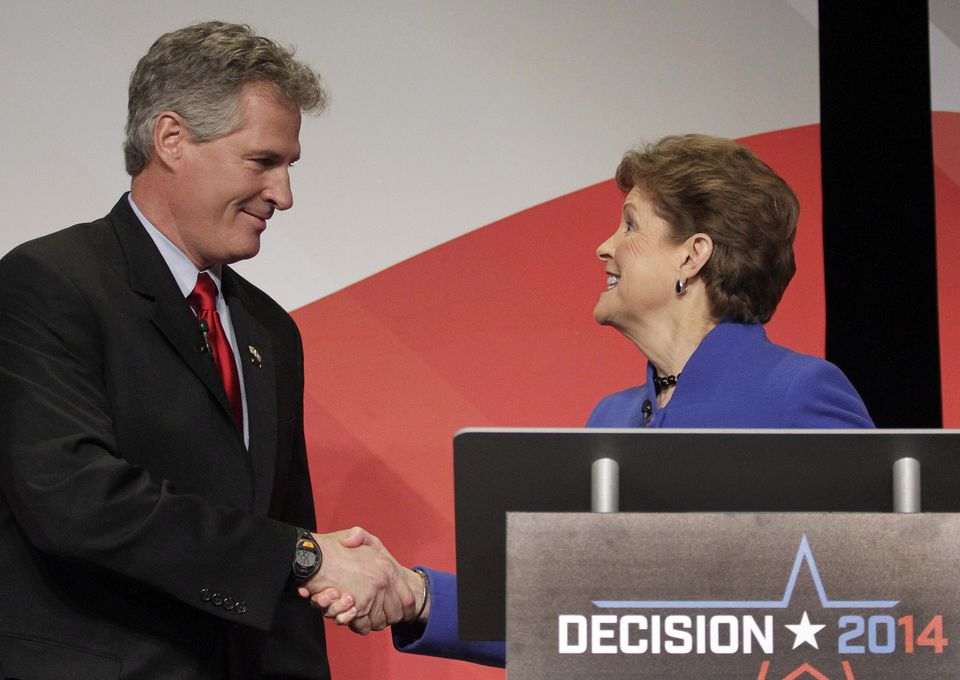 Scott Brown and Jeanne Shaheen debated in Concord, N.H., Tuesday.
