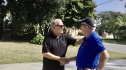 """In 2019, 50 years after he placed what he believed was his dead friend Jim Coffey on a helicopter in Vietnam, Don """"Woody"""" Woodruff (left) reunited with Coffey."""
