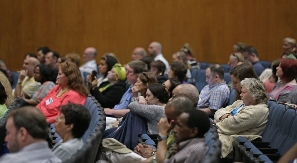 An audience listened to Michael Botticelli during his address in Worcester.