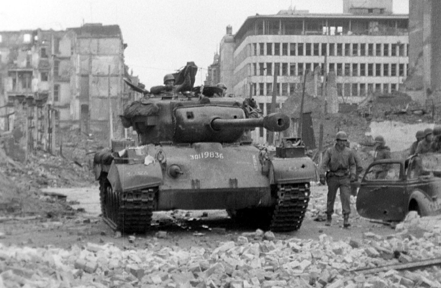 This shot shows Smoyer's Pershing tank in Cologne on March 6, 1945.