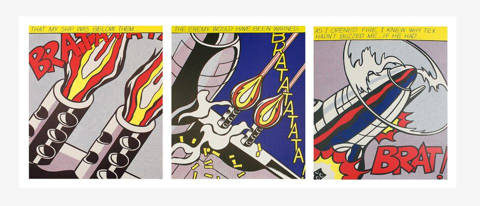 """Roy Lichtenstein's """"As I Opened Fire"""" is part of """"Killers & Thrillers"""" at Kabinett."""