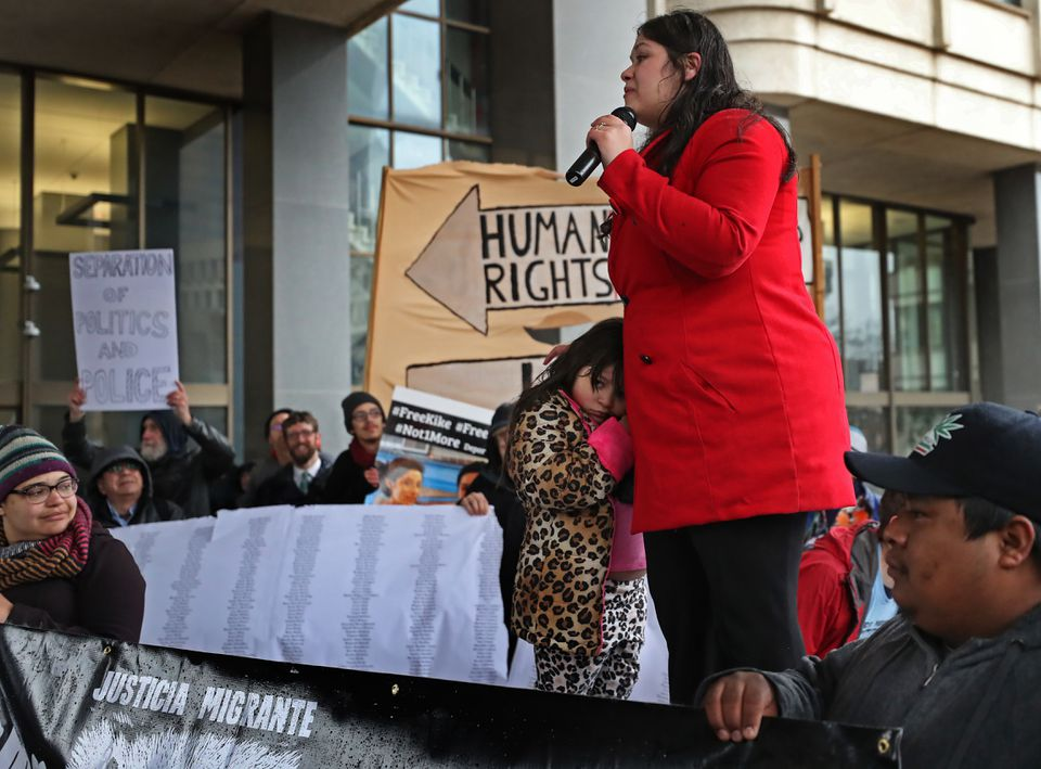 "Lymarie Deida addressed the crowd outside the JFK Building on Monday on behalf of her husband, Alex Carrillo, a farm worker from Vermont who was arrested by ICE on March 15. ""Me and my daughter need him home,"" she told protesters."