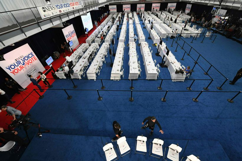 Seats are arranged for candidates in the Media Center at Texas Southern University in Houston, Texas on Thursday ahead of the third 2020 Democratic presidential debate held on campus.