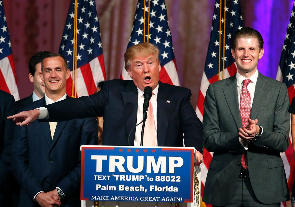 Donald Trump says he is upset that Florida police didn't interview him after an incident involving campaign manager Corey Lewandowski (left).