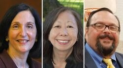 Newton Mayor Ruthanne Fuller, left, is running for a second term this year. She faces challenges from Amy Mah Sangiolo, center, a former Ward 4 Councilor-at-large; and Albert Cecchinelli.